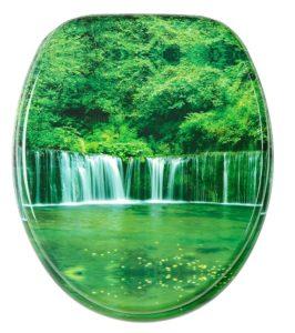 Grüner WC-Sitz mit See, Wald, und Wasserfall im Dschungel