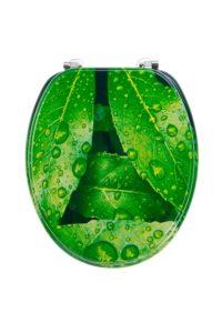 Toilettendeckel grün mit Blätter und Regentropfen