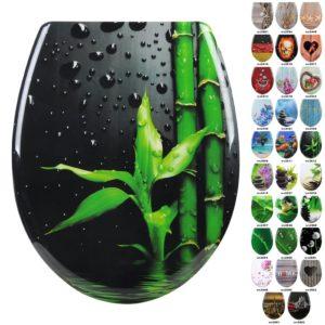 Woltu WC-Sitz schwarz mit grünen Bambus und anderen motiven